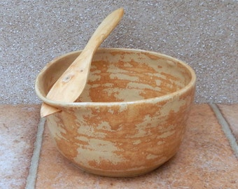 Serving bowl pate dish hand thrown in stoneware with a wooden spreader knife
