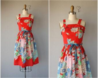 Vintage 1970s Midi Dress | 70s Dress | 1970s Sun Dress | 70s Sun Dress | 1970s Dress | 70s Floral Day Dress