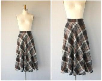 Plaid Wool Midi Skirt | Vintage 1970s Skirt | 70s Skirt | Vintage Wool Midi Skirt | Bias Cut Wool Skirt