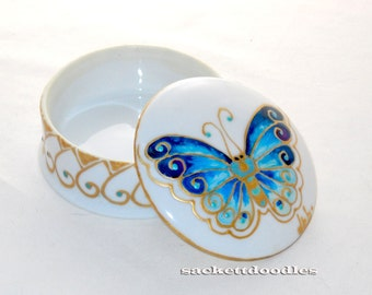 Butterfly Trinket Box Hand Painted Porcelain Vanity Box Keepsake Box