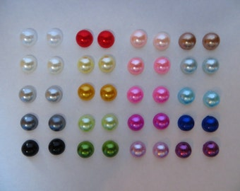 Magnetic Pearl Round Earrings Clip on non pierced ears many colors