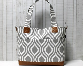 Grey Modern Pod Drop with Vegan Leather - with Outside Pockets-  Tote Bag /  Diaper Bag  / Large Bag