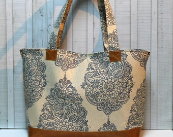 Mandala Paisley with Vegan Leather - Large / XLarge Tote Bag - Diaper Bag /  Overnight Bag / Travel Bag