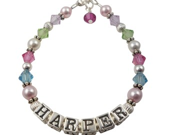 Colorful rainbow color crystal name bracelet for girls and baby- selection of sizes and colors/ personalized