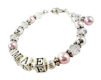 Beautiful sterling silver and swarovksi crystal and pearl name bracelet - custom designed for your special girl