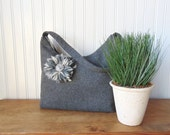 Grey Handbag, Purse, Shoulder Bag with Flower Brooch, Tote Bag, Zipper Bag, Fabric Handbag, Womens Handbag, Bags, Handmade Bag Dark Gray Bag