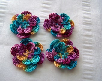 Appliques hand crocheted flowers set of 4 ocean sunset cotton 1.5 inch