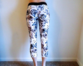 Crazy Cat Lady • Capri • Leggings • Small / Medium • Kitty faces • Yoga • Workout • Capris