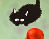 Sammy Pounces an Ornament - Christmas Illustrated Black Cat Greeting Card
