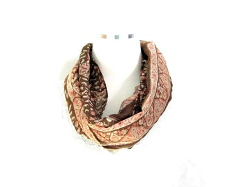 Brown Floral Scarf Infinity Scarf Sari Scarf Spring Scarf Summer Scarf Lightweight Scarf Silk Scarf Upcycled Scarf Eco Fashion Gift for Her
