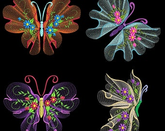 FLUTTERBY LUV #2 (4 inch)- 10 Machine Embroidery Designs Instant Download 4x4 hoop (AzEB)