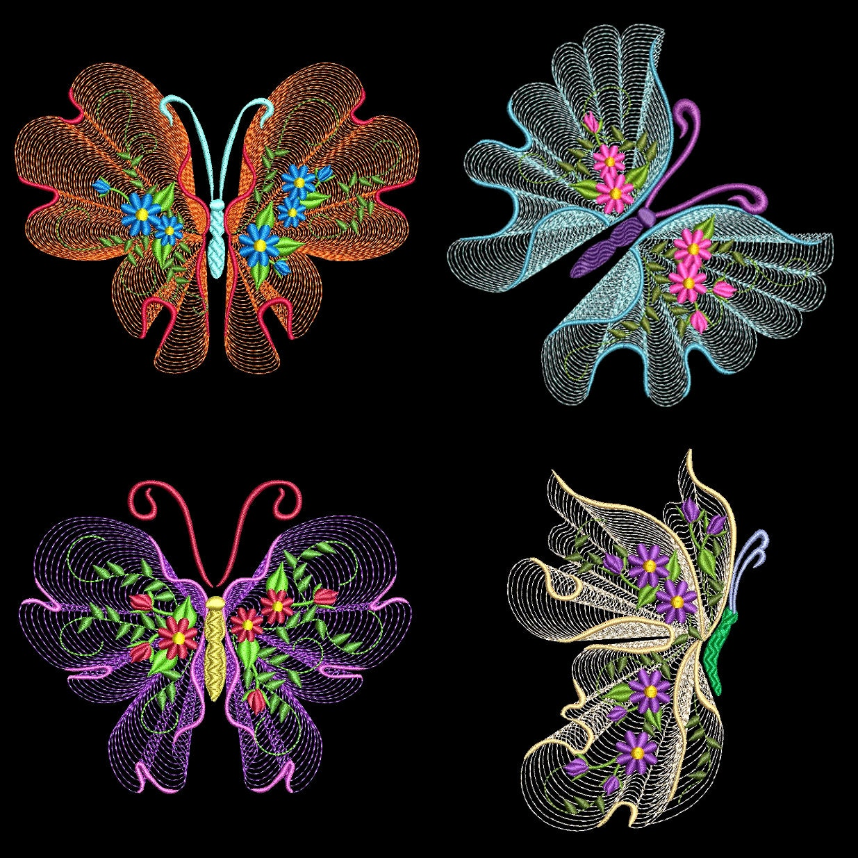 Flutterby luv inch machine embroidery designs