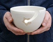 SECONDS SALE - Stoneware pottery yarn bowl with little star hook in vanilla cream