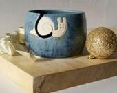 SHIPPING JANUARY - The happy snail yarn bowl, hand thrown custom pottery yarn bowl