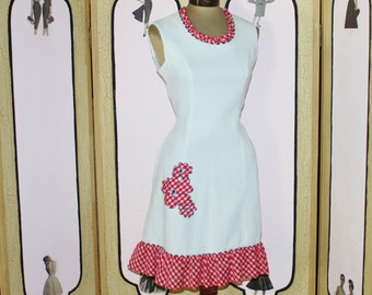 Vintage Evelyn Peterson Red and White Gingham Dress. Adorable. Medium.