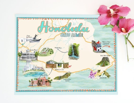 Honolulu, Hawaii Illustrated Travel Map - print of an original watercolor