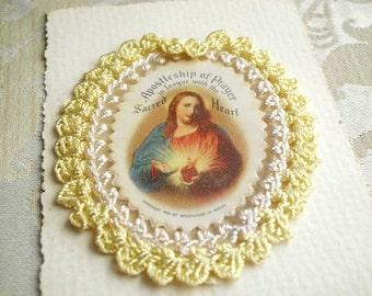 Vintage 1936 Scapular Sacred Heart of Jesus Apostleship of Prayer On Card