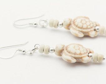 White Turtle Earrings, Earthy, Turtle Earrings, Sterling Silver