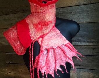 Nuno Felted Shawl, Felted Scarf, Felted Collar, Felted Wool Scarf, Nuno Felted Scarf, Red and Pink Shawl, Textured Nuno Felt