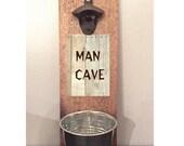 bottle opener, man cave decor, beer bottle opener, groomsmen gift, Father's Day gift, reclaimed wood, bar accessory, bar decor, man cave bar