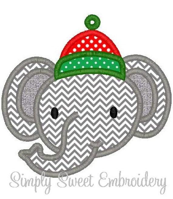 Christmas Elephant Machine Embroidery Design