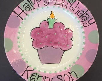 Hand Painted Birthday Plate with Polka Dots