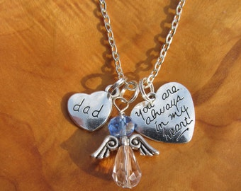Memory Necklace - DAD - You Are Always in my Heart -  Personalize -Choose any Birthstone Angel