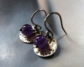 Amethyst silver earrings, Sterling silver disc, rustic dangle earrings, natural jewelry, gift for wife, birthday present, hammered pattern