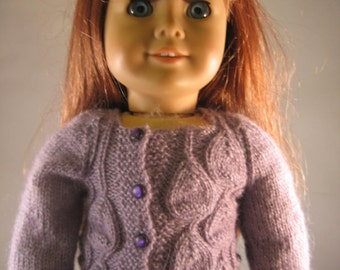 "Hand Knit Soft Purple Design Cardigan Doll Clothes fits 18"" American Girl Doll"