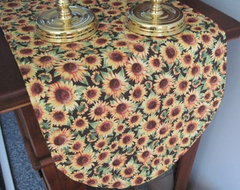 "Sunflower 36"" Reversible Table Runner Yellow Table Runner Fall Leaves Table Runner Golden Leaf Table runner Sunflower Table Decor Fall Decor"