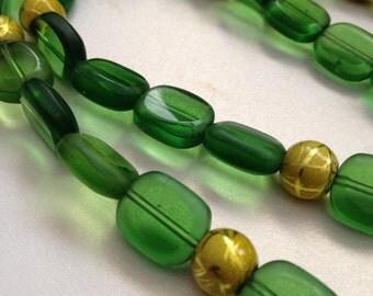 Dark Green Glass Bead Necklace