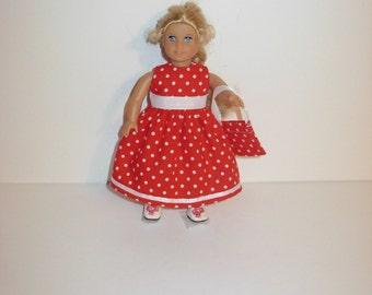 Handmade clothes. Cute dress for Mini American girl doll 6 1/2 inch