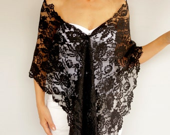 Black Lace Long Stole Scarf, Lace Shawl, Shoulder Wrap, Evening Shoulder Cover, Mother of the Bride Fashion