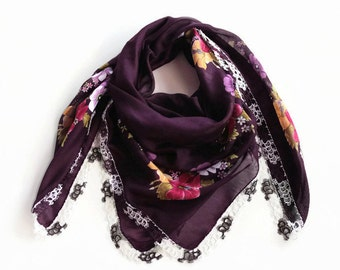 Authentic Yazma Scarf, Tatting Lace Trim, Egplant Purple Burgundy Turban Scarf, Floral Printed Scarf, Soft  Cotton Cheesecloth, Boho Fashion