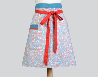 Womens Waist Aprons / Feedsack Print Floral Design on Pinstripes is fully Lined Large Pocket Cute Vintage Inspired Retro Waist Half Apron