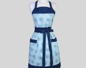 Full Womens Aprons , Cute Vintage Kitchen Cooking Blue Fusion Floral Retro Chef Hostess Womans Apron Personalize