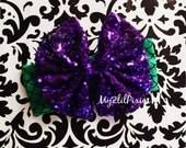Little Mermaid Headband , Head Wrap-Baby Girl Headbands, Ariel Headband, Purple Bow, Messy bow headband , sparkly bow ,newborn headband