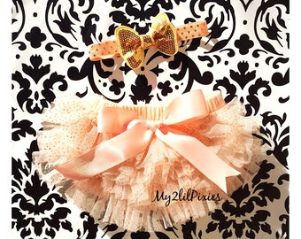 Bloomers and Headband -Baby Girl Headband and Ruffle Bum Bloomer Set. Black Baby Bloomer, Diaper Cover ,Champagne and Gold set-ready to ship