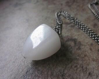 White Quartz Pendulum Necklace, 'Snow' Quartz Gemstone, Black Gunmetal Chain, Lobser Clasp Closure, Canadian Seller, Philosophia Creations