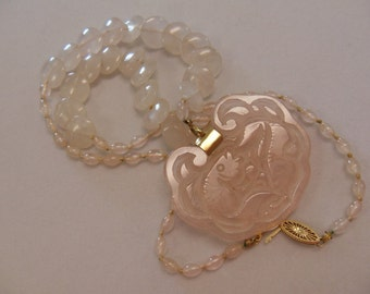 Vintage Handcarved Rose Quart Pendant and Bead Necklace with 14 Karat Gold Clasp