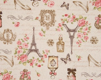 Cosmo Cotton Linen Fabric Vintage Ephemera French Images AP41305-1A on Natural Linen