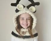 Reindeer Hat - Reindeer Hoodie - Reindeer Cowl - Animal Hat - Hooded Scarf - Crochet Hoodie - Chunky Crochet Hat - Animal Scarf - Winter Hat