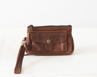 Wristlet wallet brown leather, womens phone wallet phone case zipper wallet clutch wallet - Thalia Wallet