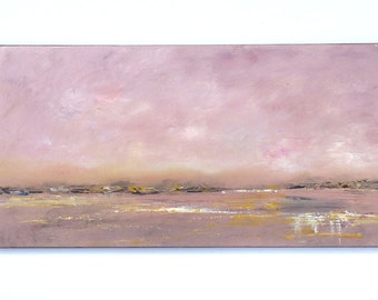 Abstract landscape beach painting, 12x24 dusty pink ocean painting, impressionistic, serene rectangular long art.