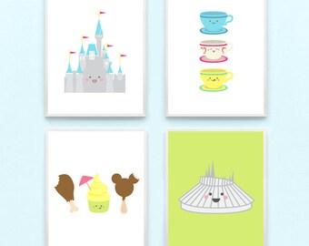 Disney World Land Nursery Art Print - Cinderella Castle, Space Mountain, Kawaii, Dole Whip, Kids Playroom Wall Art, Baby, Modern, Minimalist
