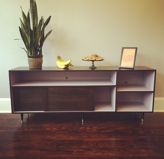 mid century modern record cabinet tv table media console w. Black Bedroom Furniture Sets. Home Design Ideas