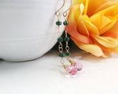 Emerald and Pink Earrings, 14K Gold Long Earrings, Dangle Earrings-ccsdesigns01