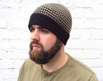 Men's beanie hat, striped winter hat, man hat, guys accessory.