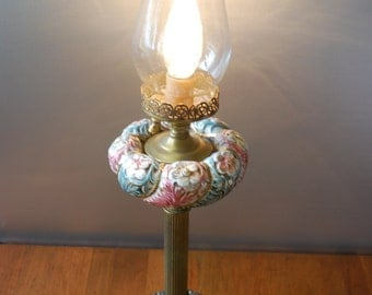 Vintage Floral Embossed and Banded Hurricane Table Lamp - Florentine - French Country - Cottage Chic