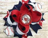 Boston Red Sox Hair Bow, MLB Baseball Inspired  OTT Hair Bow - Perfect for Infants, Toddlers, Big Girls and Teens, Baby Headband, Sports